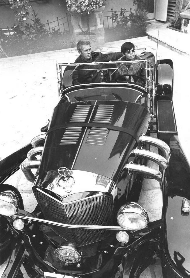 Steve McQueen with his wife Neile Adams Excalibur SS Beverly Hills, 1970.jpg